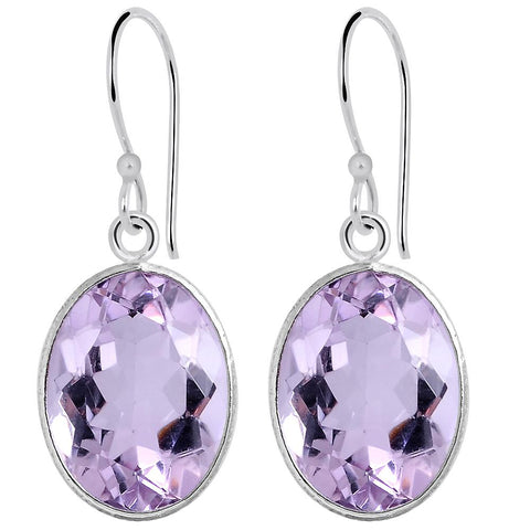Orchid Jewelry 15.80 Carat Genuine Pink Amethyst  925 Sterling Silver Earring