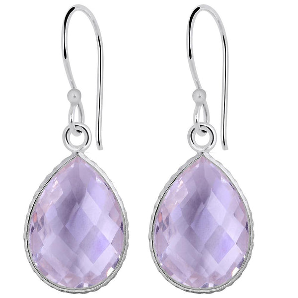 Orchid Jewelry 925 Sterling Silver 18.00 Carat Pink Amethyst Teardrop Earrings