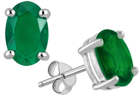 Orchid Jewelry 925 Sterling Silver 2.25 Carat Emerald Gemstone Stud Earrings