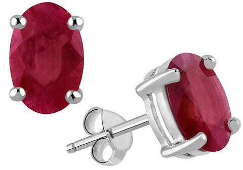 Oval Shaped Genuine Ruby Silver Stud Earrings