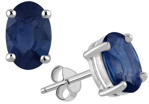 Oval Shaped Genuine Sapphire Silver Stud Earrings