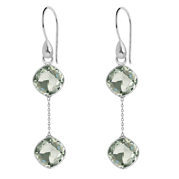 Orchid Jewelry 11.40 Carat Genuine Green Amethyst 925 Sterling Silver Earring