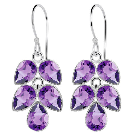 Orchid Jewelry 9.00 Carat Genuine Amethyst 925 Sterling Silver Earring