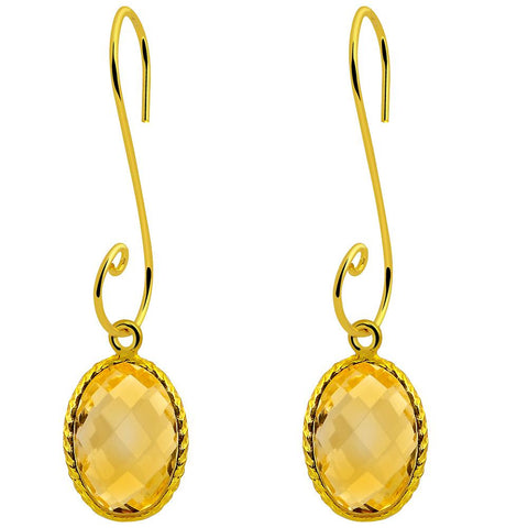 Orchid Jewelry 14.60 Carat Citrine 925 Sterling Silver Stylish Hook Earring