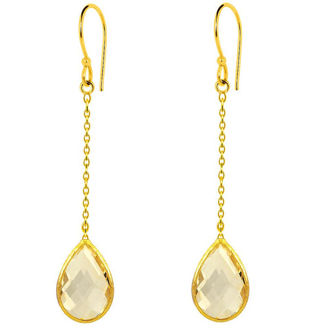 Orchid Jewelry 9.00 Carat Genuine Citrine 925 Sterling Silver Gold Plated Earring