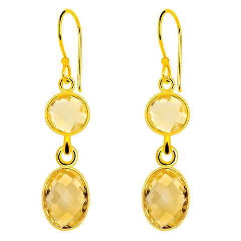 Orchid Jewelry 13.45 Carat Genuine Citrine  925 Sterling Silver Gold Plated Earring