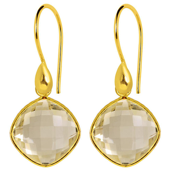 Orchid Jewelry 14k Yellow Gold Plated Sterling Silver 12.20 Carat Citrine Earrings