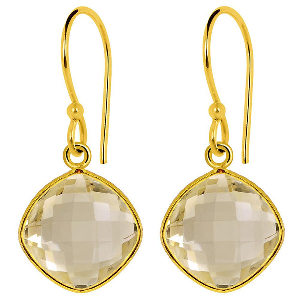 Orchid Jewelry 14k Yellow Gold Plated Sterling Silver 16.00 Carat Citrine Earrings