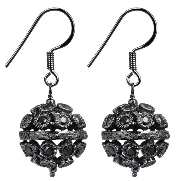 Jeweltique Designs 925 Sterling Silver 5.10 Carat Black Diamond Earrings with Black Rhodium Plated