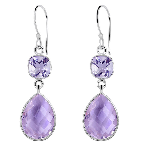 Orchid Jewelry 925 Sterling Silver 22.00 Carat Pink Amethyst Earrings
