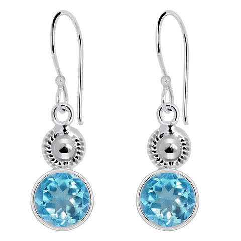 Orchid Jewelry 925 Sterling Silver 4.85 Carat Genuine Blue Topaz Birthstone Earrings
