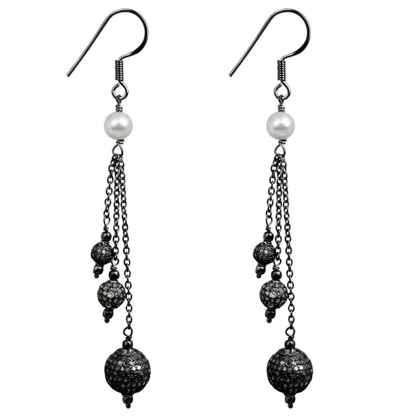 Jeweltique Designs 925 Sterling Silver 6.64 Carat Diamond & Pearl Earrings