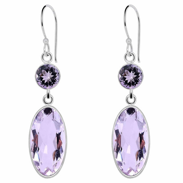 Orchid Jewelry 9.50 Carat Genuine Amethyst Sterling Silver Earring