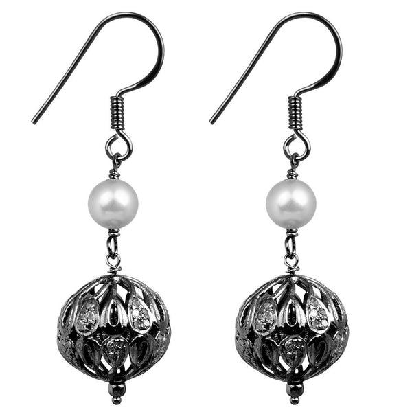 Jeweltique Designs 925 Sterling Silver 3.74 Carat Diamond & Pearl Earrings