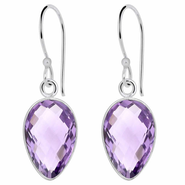 Orchid Jewelry 9.90 Carat Genuine Amethyst Sterling Silver Earrings