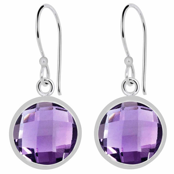 Orchid Jewelry 10.80 Carat Genuine Amethyst Sterling Silver Earrings