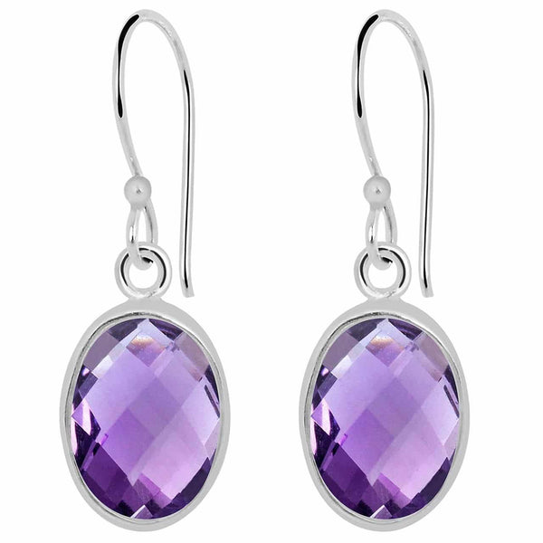 Orchid Jewelry 9.50 Carat Genuine Amethyst Sterling Silver Earrings