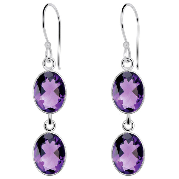 Orchid Jewelry 12.50 Carat Amethyst Gemstone 925 Sterling Silver  Earrings