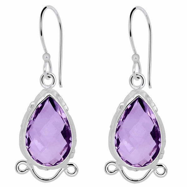 Orchid Jewelry 925 Sterling Silver 9.50 Carat Teardrop Amethyst Earrings