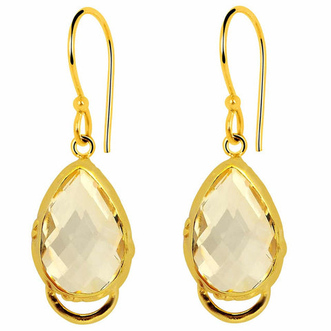 Orchid Jewelry 9.50 Carat Citrine 14k Yellow Gold Plated Sterling Silver Earrings