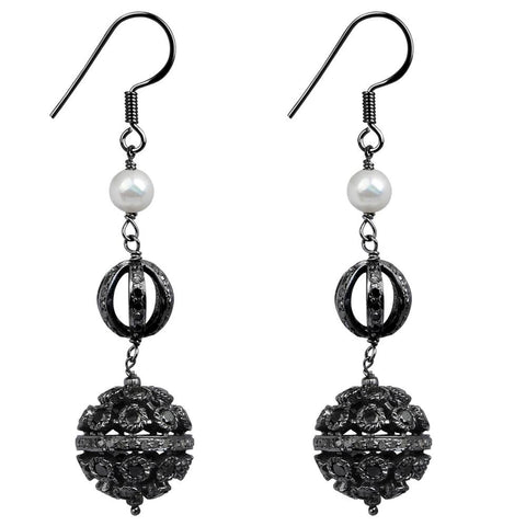 Jeweltique Designs 925 Sterling Silver 9.10 Carat Diamond & Pearl Earrings
