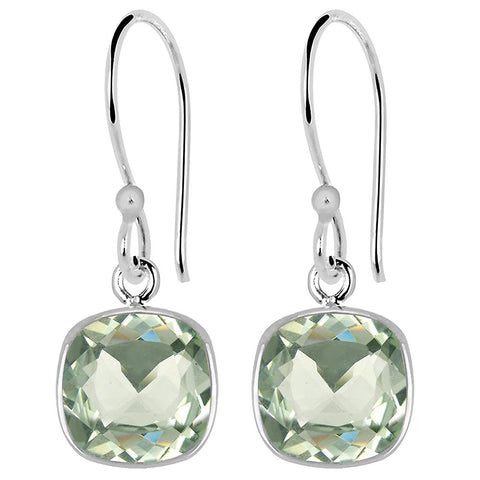 Cushion Shaped Green Amethyst Silver Dangle Earrings