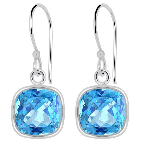 Cushion Shaped Blue Topaz Silver Dangle Earrings