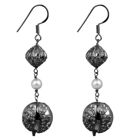 Jeweltique Designs Sterling Silver 7.80 Carat Diamond & Pearl Drop Earrings