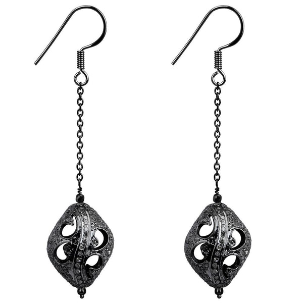 Jeweltique Designs 925 Sterling Silver Black Plated 5.18 Carat Diamond Earrings
