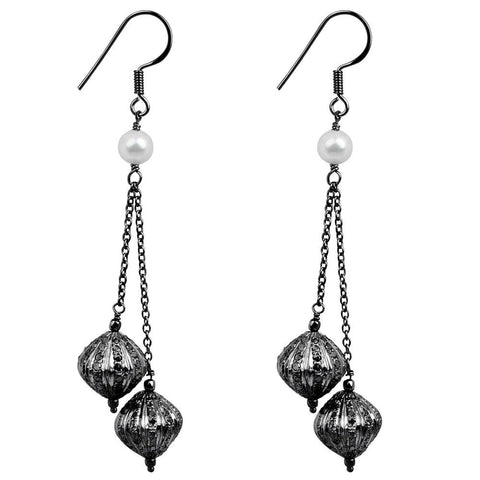 Jeweltique Designs Sterling Silver 7.32 Carat Diamond & Pearl Earring