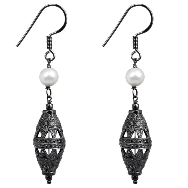 Jeweltique Designs 925 Sterling Silver 5.50 Carat Diamond & Pearl Dangle Earrings