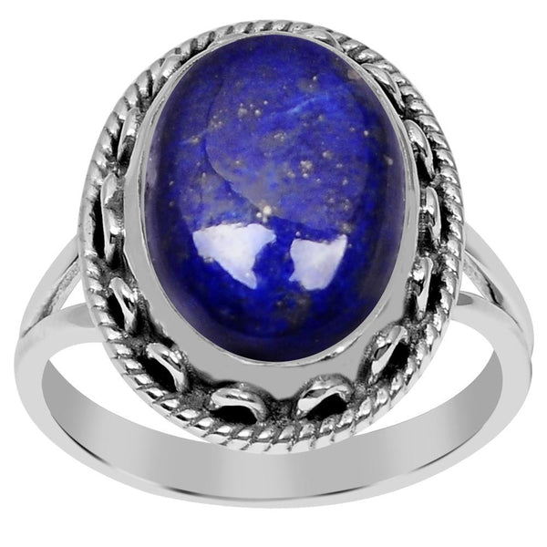 Orchid Jewelry 925 Sterling Silver 6.90 Carat Genuine Lapis Lazuli Ring
