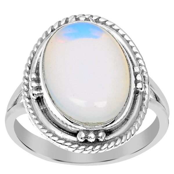 Orchid Jewelry 925 Sterling Silver 5.00 Carat Genuine Opal Ring