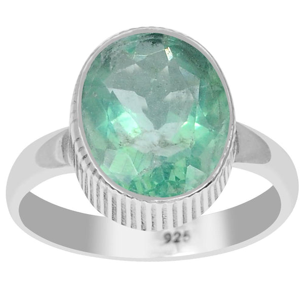 Orchid Jewelry 925 Sterling Silver 5.20 Carat Genuine Fluorite Ring