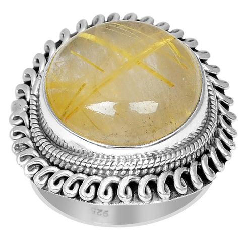 Orchid Jewelry 925 Sterling Silver 16.00 Carat Genuine Rutilated Quartz Ring