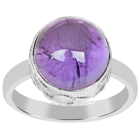 Orchid Jewelry 925 Sterling Silver 4.95 Carat Genuine Amethyst Ring