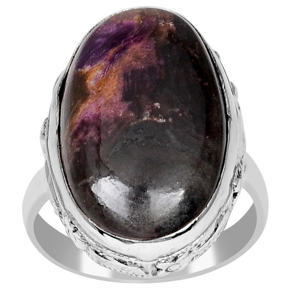 Orchid Jewelry 925 Sterling Silver 12.60 Carat Genuine Sugilite Cabochon Ring - 7