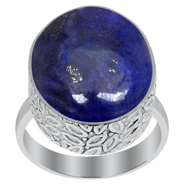 Orchid Jewelry 925 Sterling Silver 16.00 Carat Genuine Lapis Lazuli Ring