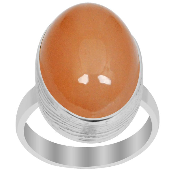 Orchid Jewelry 925 Silver 15.00 Carat Genuine Orange Moonstone Cabochon Ring