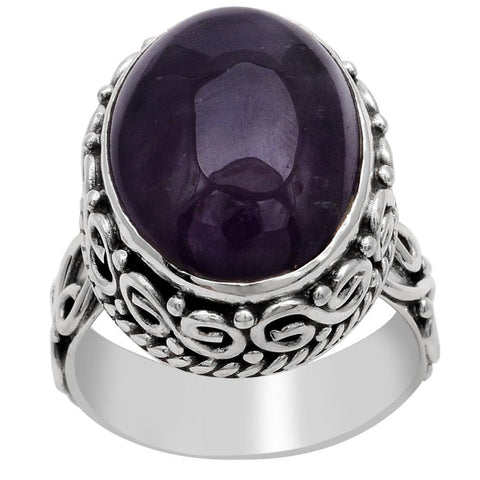Orchid Jewelry 925 Sterling Silver 13.00 Carat Genuine Amethyst Ring