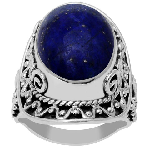 Orchid Jewelry 925 Sterling Silver 16.00 Carat Genuine Lapis Ring