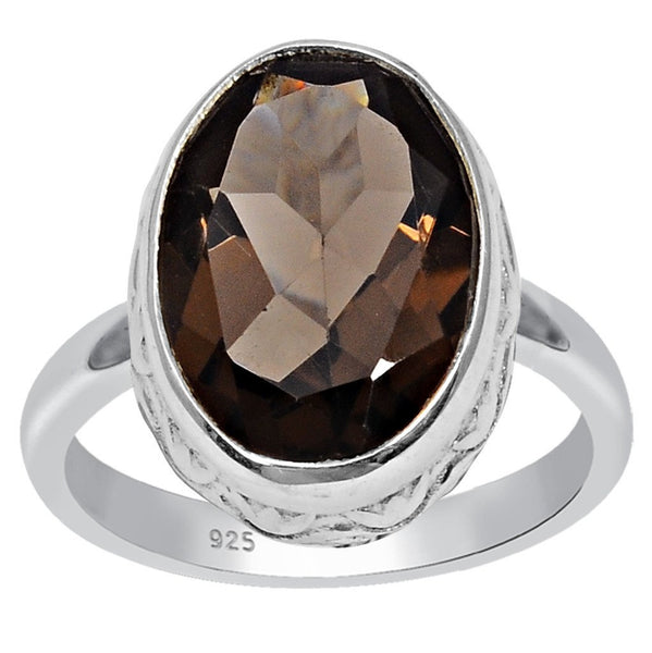 Orchid Jewelry 925 Silver 5.25 Carat Genuine Smoky Quartz Ring