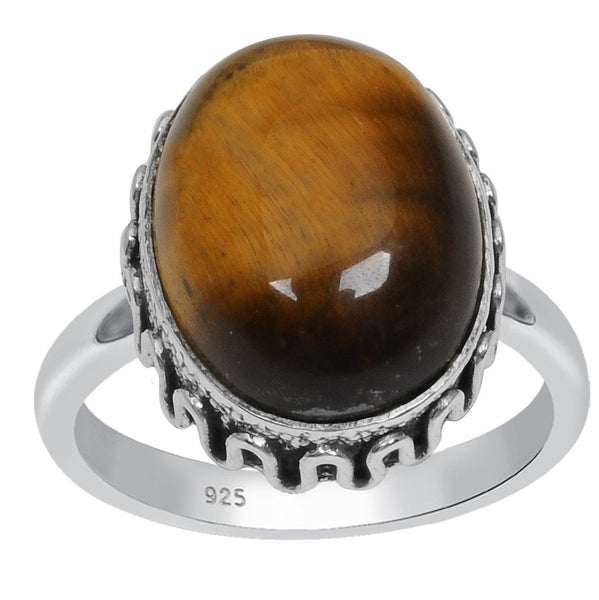Orchid Jewelry 925 Sterling Silver 9.20 Carat Genuine Tiger Eye Ring