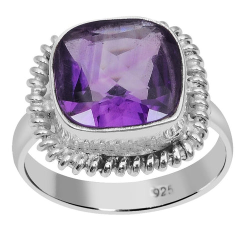Orchid Jewelry 925 Sterling Silver 4.00 Carat Genuine Amethyst Ring