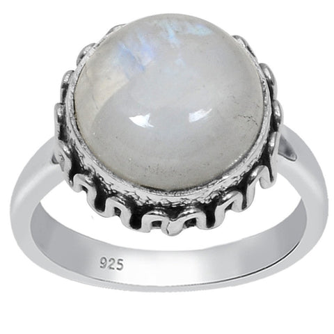 Orchid Jewelry Sterling Silver 6.20 Carat Genuine Rainbow Moonstone Cabochon Ring
