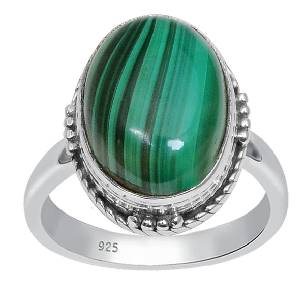 Orchid Jewelry 925 Sterling Silver 7.80 Carat Genuine Malachite Ring