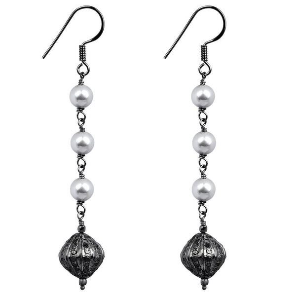 Jeweltique Designs 925 Sterling Silver 11.16 Carat Diamond & Pearl Earrings