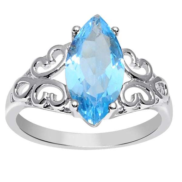 Orchid Jewelry 925 Sterling Silver 3 Carat Genuine Blue Topaz Marquise Cut Ring