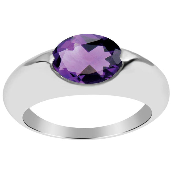 Orchid Jewelry 925 Sterling Silver 1.60 Carat Amethyst Solitaire Ring