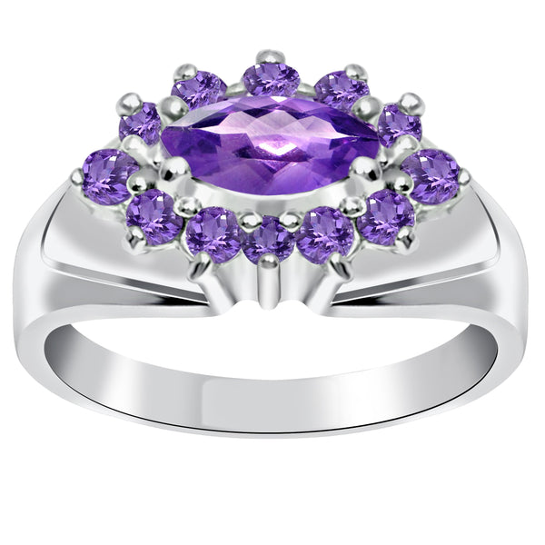 Orchid Jewelry Sterling Silver Gemstone Marquise Cut Halo Ring
